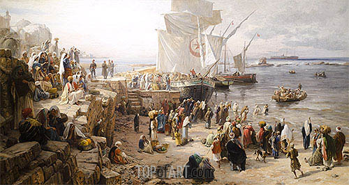 Jaffa, Recruiting of Turkish Soldiers in Palestine, 1888 | Bauernfeind| Painting Reproduction