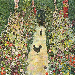 Garden Path with Chickens, 1916 von Klimt | Gemälde-Reproduktion