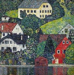 Houses at Unterach on the Attersee, c.1916 by Klimt | Painting Reproduction