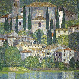 Church in Cassone (Landscape with Cypresses) | Klimt | Gemälde Reproduktion