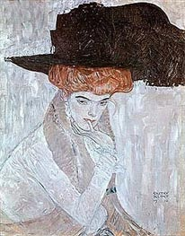 Woman with Black Feather Hat, 1910 von Klimt | Gemälde-Reproduktion