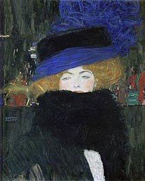 Lady with Hat and Feather Boa, 1909 von Klimt | Gemälde-Reproduktion