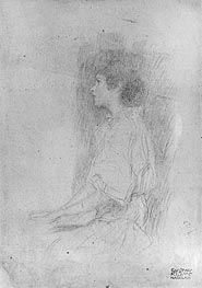 Seated Girl in Shadow, Undated by Klimt | Painting Reproduction