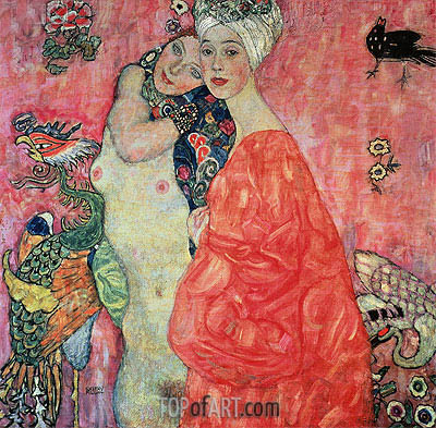 Girl Friends, c.1916/17 | Klimt | Painting Reproduction