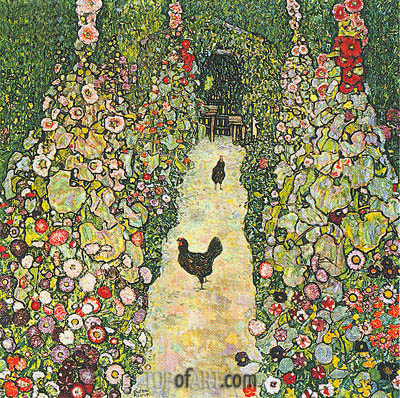 Garden Path with Chickens, 1916 | Klimt | Painting Reproduction