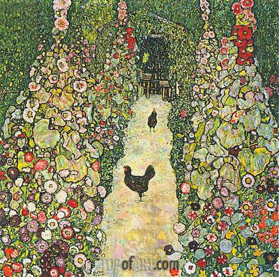 Garden Path with Chickens, 1916 | Klimt | Gemälde Reproduktion
