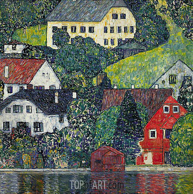 Houses at Unterach on the Attersee, c.1916 | Klimt | Painting Reproduction