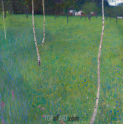 Farmhouse with Birch Trees, 1900 | Klimt | Painting Reproduction