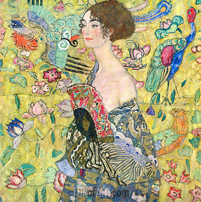 Lady with a Fan, c.1917/18 | Klimt | Painting Reproduction