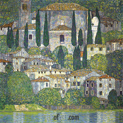 Church in Cassone (Landscape with Cypresses), 1913 | Klimt| Painting Reproduction