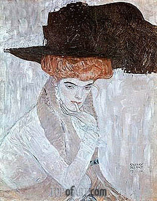 Woman with Black Feather Hat, 1910 | Klimt| Painting Reproduction