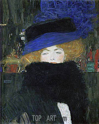 Lady with Hat and Feather Boa, 1909 | Klimt | Gemälde Reproduktion