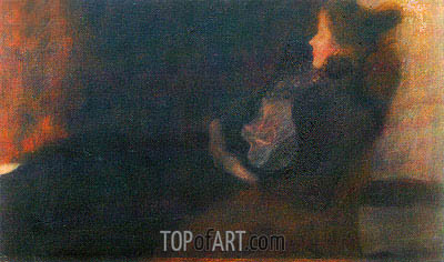 Lady at the Fireplace, c.1897/98 | Klimt | Painting Reproduction