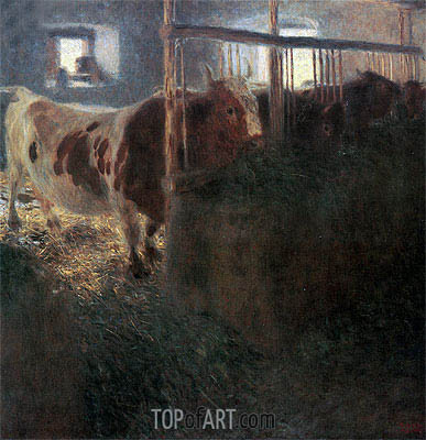 Cows in Stable, 1900 | Klimt| Painting Reproduction
