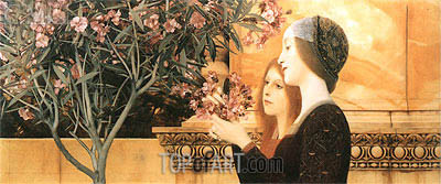 Two Girls With An Oleander, 1892 | Klimt| Painting Reproduction