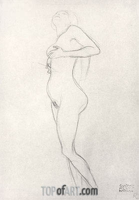 Standing Nude Girl Looking Up,  | Klimt| Painting Reproduction