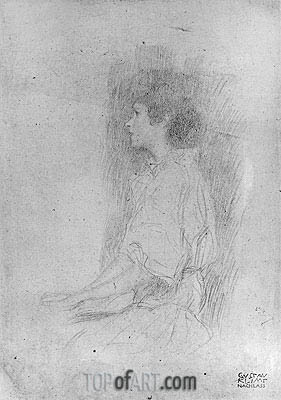 Seated Girl in Shadow,  | Klimt | Painting Reproduction