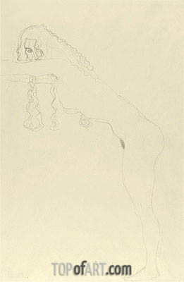 Nude with Long Hair and Forward Leaning Torso, c.1907 | Klimt| Painting Reproduction