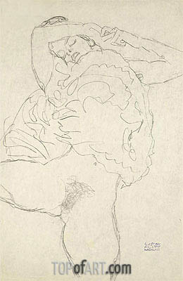 Reclining Semi-Nude with Spread Legs, c.1917/18 | Klimt| Gemälde Reproduktion