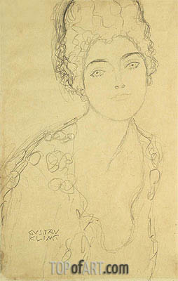 Bust of a Lady, c.1917 | Klimt| Painting Reproduction