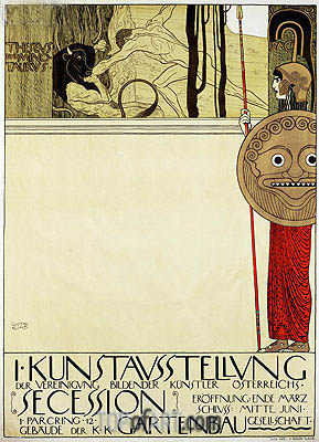 Poster for the first art exhibition of the Secession Art Movement, 1898 | Klimt | Gemälde Reproduktion