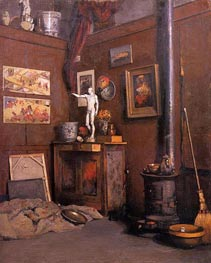 Interior of a Studio with Stove | Caillebotte | Painting Reproduction