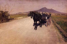 A Road near Naples, 1872 by Caillebotte | Painting Reproduction