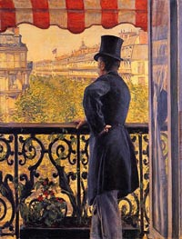 The Man on the Balcony, 1880 by Caillebotte | Painting Reproduction