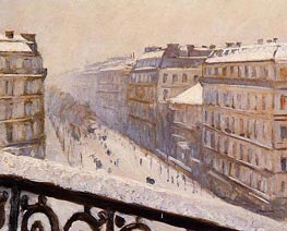 Boulevard Haussmann, Snow, c.1880 by Caillebotte | Painting Reproduction