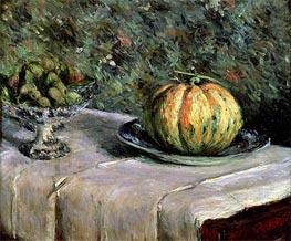 Melon and Fruit Bowl with Figs, c.1880/82 by Caillebotte | Painting Reproduction