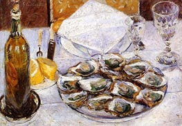 Still Life with Oysters, 1881 by Caillebotte | Painting Reproduction