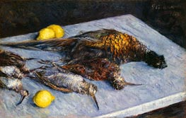 Game Birds and Lemons, 1883 by Caillebotte | Painting Reproduction