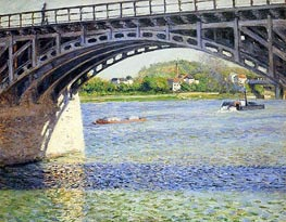 The Argenteuil Bridge and the Seine, c.1883 by Caillebotte | Painting Reproduction