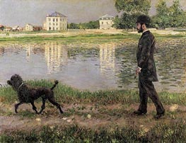 Richard Gallo and His Dog, at Petit Gennevilliers, 1884 by Caillebotte | Painting Reproduction