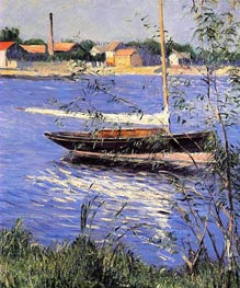 Anchored Boat on the Seine at Argenteuil, c.1888 by Caillebotte | Painting Reproduction