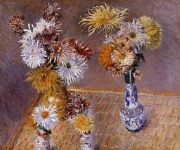 Four Vases of Chrysanthemums, 1893 by Caillebotte | Painting Reproduction