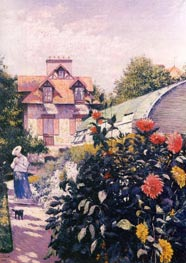 Dahlias, the Garden at Petit-Gennevilliers, 1893 by Caillebotte | Painting Reproduction