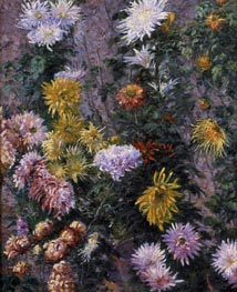 White and Yellow Chrysanthemims, 1893 by Caillebotte | Painting Reproduction