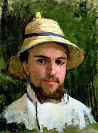 Self Portrait with Pith Helmet, undated by Caillebotte | Painting Reproduction