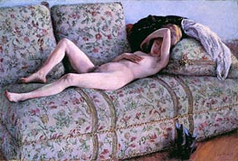 Nude on a Couch, 1890 by Caillebotte | Painting Reproduction