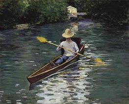 Canoe on the Yerres River, 1878 by Caillebotte | Painting Reproduction