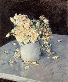 Yellow Roses in a Vase, 1882 by Caillebotte | Painting Reproduction