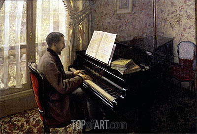 Young Man Playing the Piano, 1876 | Caillebotte | Painting Reproduction