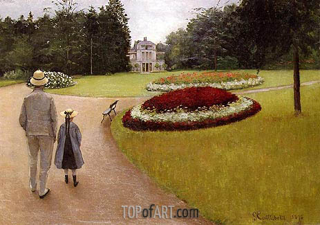 The Park on the Caillebotte Property at Yerres, 1875 | Caillebotte | Gemälde Reproduktion