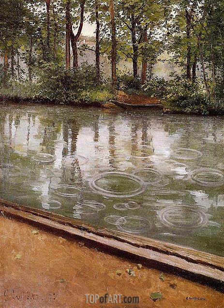 The Yerres, Rain (Riverbank in the Rain), 1875 | Caillebotte | Gemälde Reproduktion