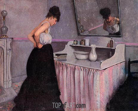Woman at a Dressing Table, c.1873 | Caillebotte | Painting Reproduction