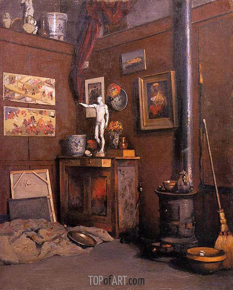 Interior of a Studio with Stove, c.1872/74 | Caillebotte | Gemälde Reproduktion