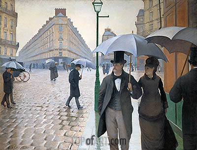 Paris Street; Rainy Weather, 1877 | Caillebotte | Painting Reproduction
