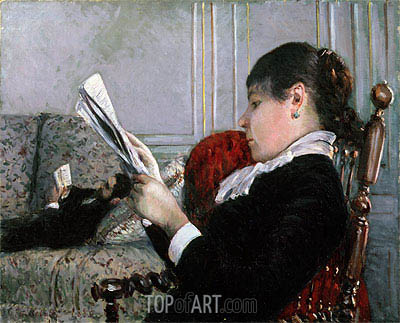 Interior, Woman Reading, 1880 | Caillebotte| Painting Reproduction