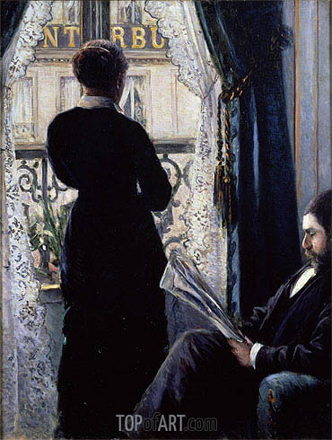 Interior, Woman at the Window, 1880 | Caillebotte| Painting Reproduction